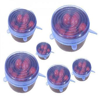 6 Pieces/set Of Silicone Stretchable Multifunctional Fruit And Vegetable Cling Film