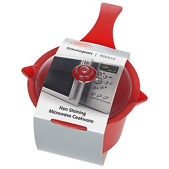 Easycook Microwave Red Large Sauce Pan & Lid 0.9L