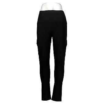 MarlaWynne Women's Leggings Soft Ponte Cargo Black 602921