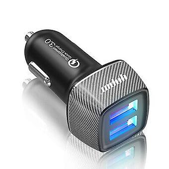 New Carbon Fiber Car Charger, Mini Multi-function Dual Usb Interface