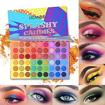 Ucanbe 6 In 1 Splashy Candies 54 Colors Eye Shadow Palette Vivid Summer Look Eyes Makeup Glitter Shimmer Matte Eyeshadow Powder