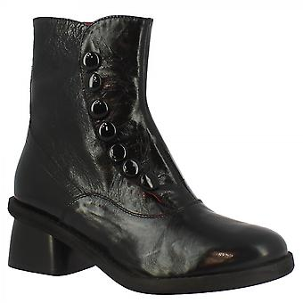 Leonardo Shoes Women's handmade heeled ankle boots in black leather with buttons and side zip
