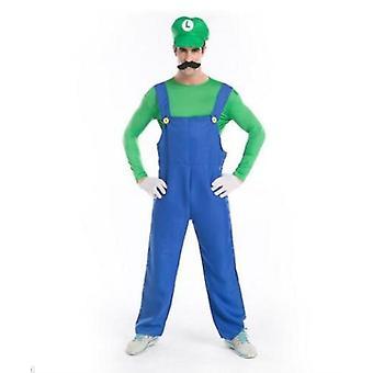 Adult Mens Super Mario Luigi Bros Fancy Dress Cosplay Costume