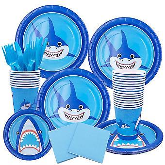 ילדים מסיבת יום הולדת כריש צלחת צלחת אספקה