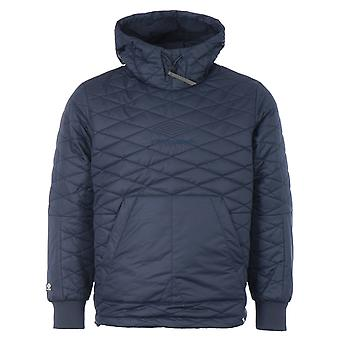 Pretty Green x Umbro Diamond Quilted Hooded Pullover - Navy