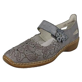 Ladies Rieker Casual Flats With Floral Detail 41358