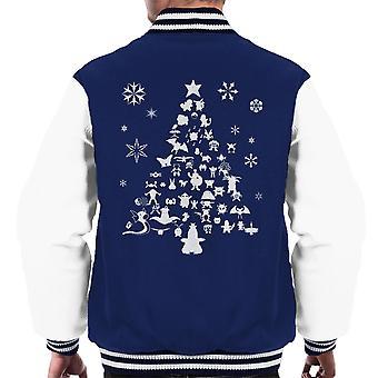 Pokemon kerstboom silhouet witte mannen Varsity Jacket
