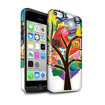 STUFF4 Gloss Tough Shock Proof Phone Case for Apple iPhone 5C / Collage Tree Design / Modern Vibrant Collection