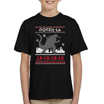 Godzilla Godzil La La La Weihnachten Stricken Muster Kinder T-Shirt