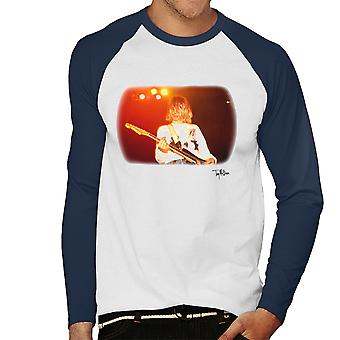 Kurt Cobain Playing Live Guitar White Men's Baseball Long Sleeved T-Shirt