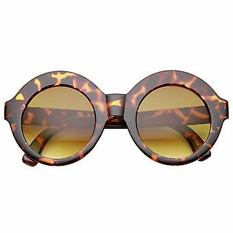 Womens oversize grassetto Glam moda Boho cerchio occhiali da sole rotondi
