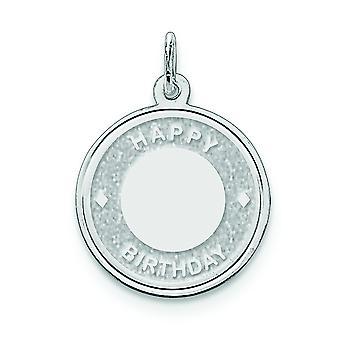 925 sterling sølv solid indgraveret laser ætset Happy Birthday Disc Charm-1,4 gram