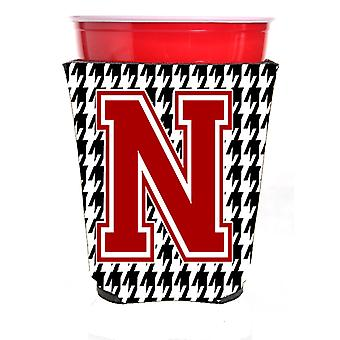 Monogram - Houndstooth  Initial  N Red Solo Cup Beverage Insulator Hugger