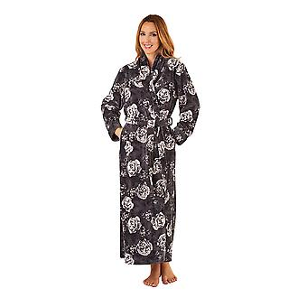 Slenderella GL8747 Women's Grey Floral Robe Long Sleeve Dressing Gown