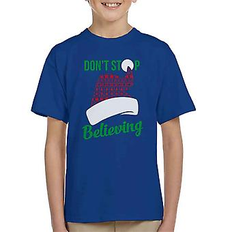 Dont Stop Believing In Santa Christmas Hat Kid's T-Shirt