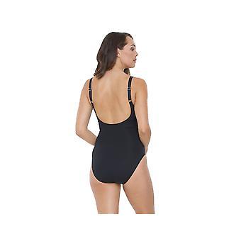 Seaspray SY007062 vrouw zwart effen kleur kostuum een stuk zwembroek