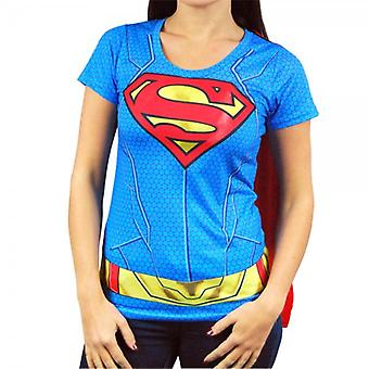 Superman Womens Supergirl Costume T Shirt With Cape Blue