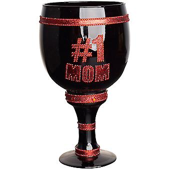 Iced Out Bling Glas Pimp Cup Becher - No.1 MOM schwarz / rot