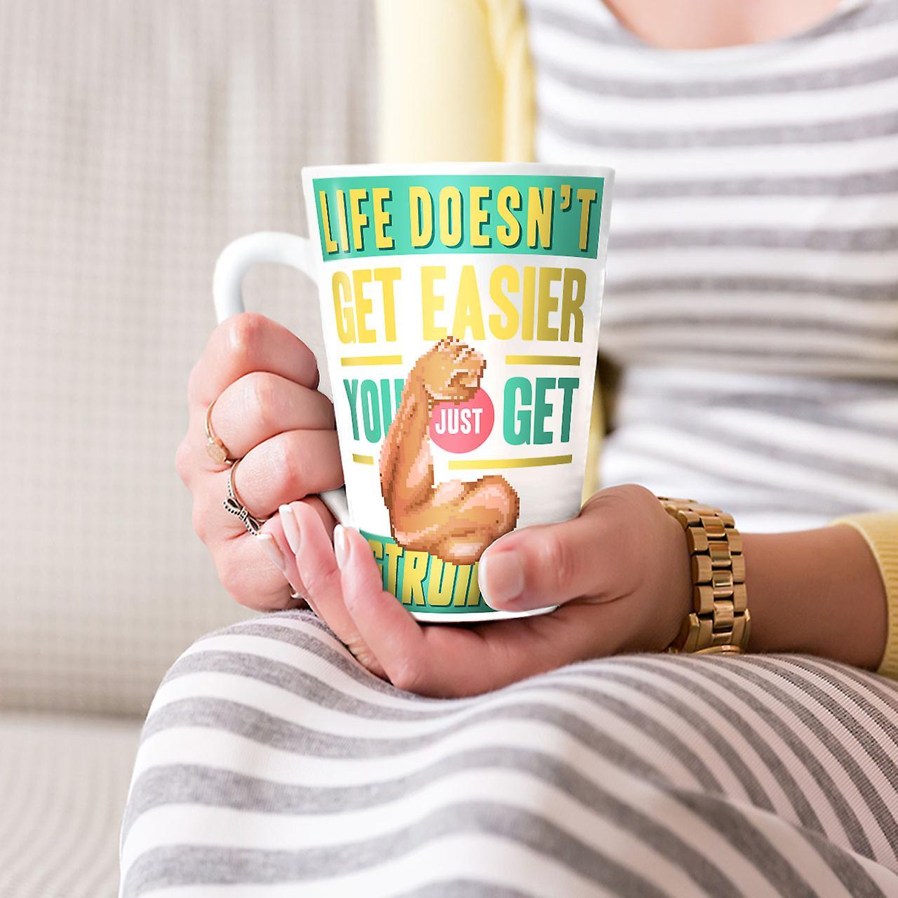 Leben nie einfach neue Weißer Tee Kaffee Keramik Latte-Becher 17 oz | Wellcoda