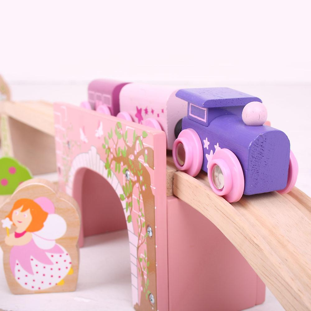 Bigjigs Rail Wooden Pink Arched Bridge Crossing Fairy Railway Train Accessories
