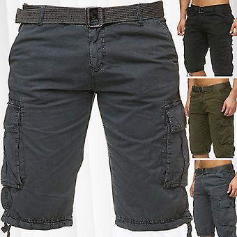 Men's Bermuda Cargo Shorts Including Belt Cotton Short Chino Outdoor Trousers