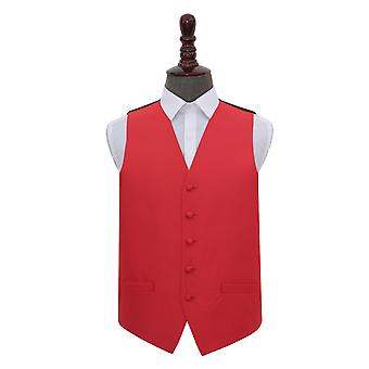 Red Solid Check Wedding Waistcoat