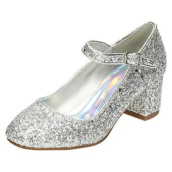 Girls Spot On Heeled Sparkley Dolly Shoes H3057