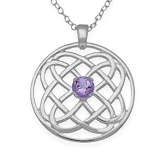 Sterling Silver Scottish Celtic Eternity Knotwork Hand Crafted Necklace Pendant Amethyst - CP325