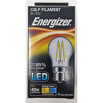 1 X Energizer Filament LED Golf Bulb  BC B22 4W = 40W 470Lumen Warm White Bayonet Cap [Energy Class A+]