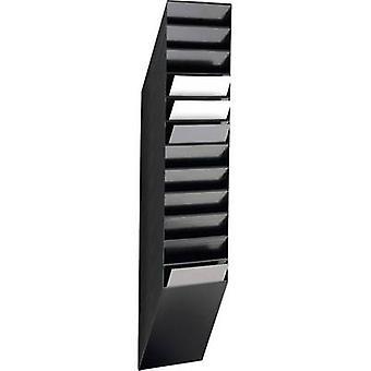 Kestävä FLEXXIBOXX 12 A4 1709763060 esite haltija musta A4 muoto kuva ei. osastojen 12 1 kpl (l x k x s) 240 x 1115 x 135 mm