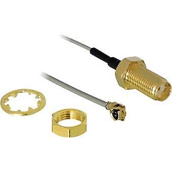 Delock Wi-Fi aerials Cable extension [1x IPEX plug - 1x SMA socket] 0.20 m Grey gold plated connectors