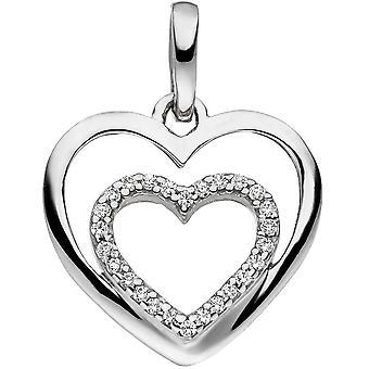 Кулон сердце сердце 925 стерлингового серебра 26 кубического циркония кулон серебро сердце кулон