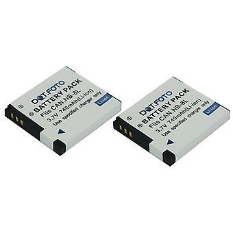 2 x dot. foto NB-8L premien 3.7 v/740mAh återinsättande rechargeable kamera ackumulatorn för Kyrkligt påbuden [Se beskrivning för förenligheten]