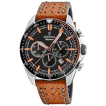 Festina Mens Chronograph Black Dial Orange Leather Strap F20377/4 Watch