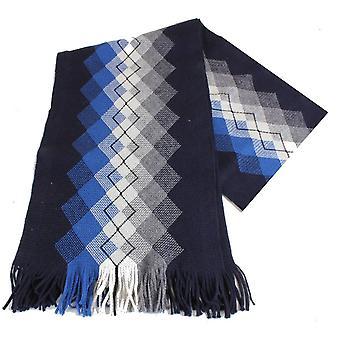 Bassin og brun Grout Argyle ull skjerf - Navy/blå/hvit