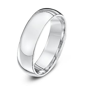 Star Wedding Rings 18ct White Gold Extra Heavy Court Shape 6mm Wedding Ring