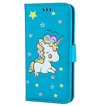 Samsung Galaxy S9 Monedero Caso-Unicornio Unicode-Azul