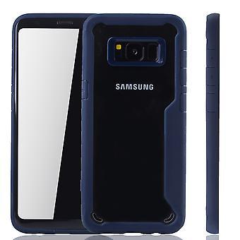 Blå premie Samsung Galaxy S8 hybrid opplag dekket. Støtter trådløs lading | fin akryl med myk silikon ring blå