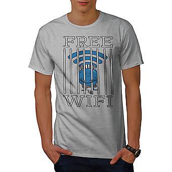 Wifi Conection Jail Men GreyT-shirt | Wellcoda