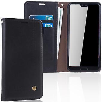 Téléphone portable Etui portefeuille de couverture de Huawei P20 pochette noir