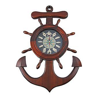 Wooden Ships Wheel / Anchor Sailors Knot Wall Clock