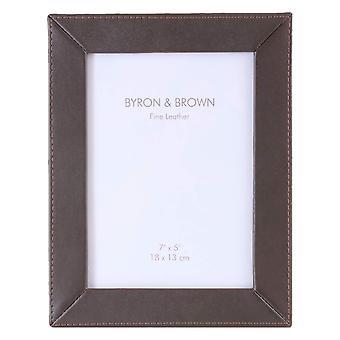 Byron and Brown Slim Classic Photo Frame 5x7 - Nappa Brown