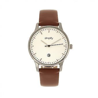 Simplify The 4300 Leather-Band Watch w/Date - Silver/Brown