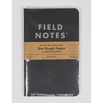 Field Notes Pitch Black Large Notebook (2 Pack) - Dot Graph Paper
