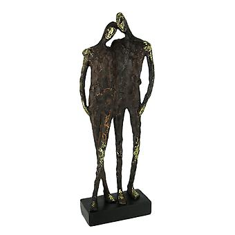 Textured Brown and Metallic Gold Friends Abstract Statue