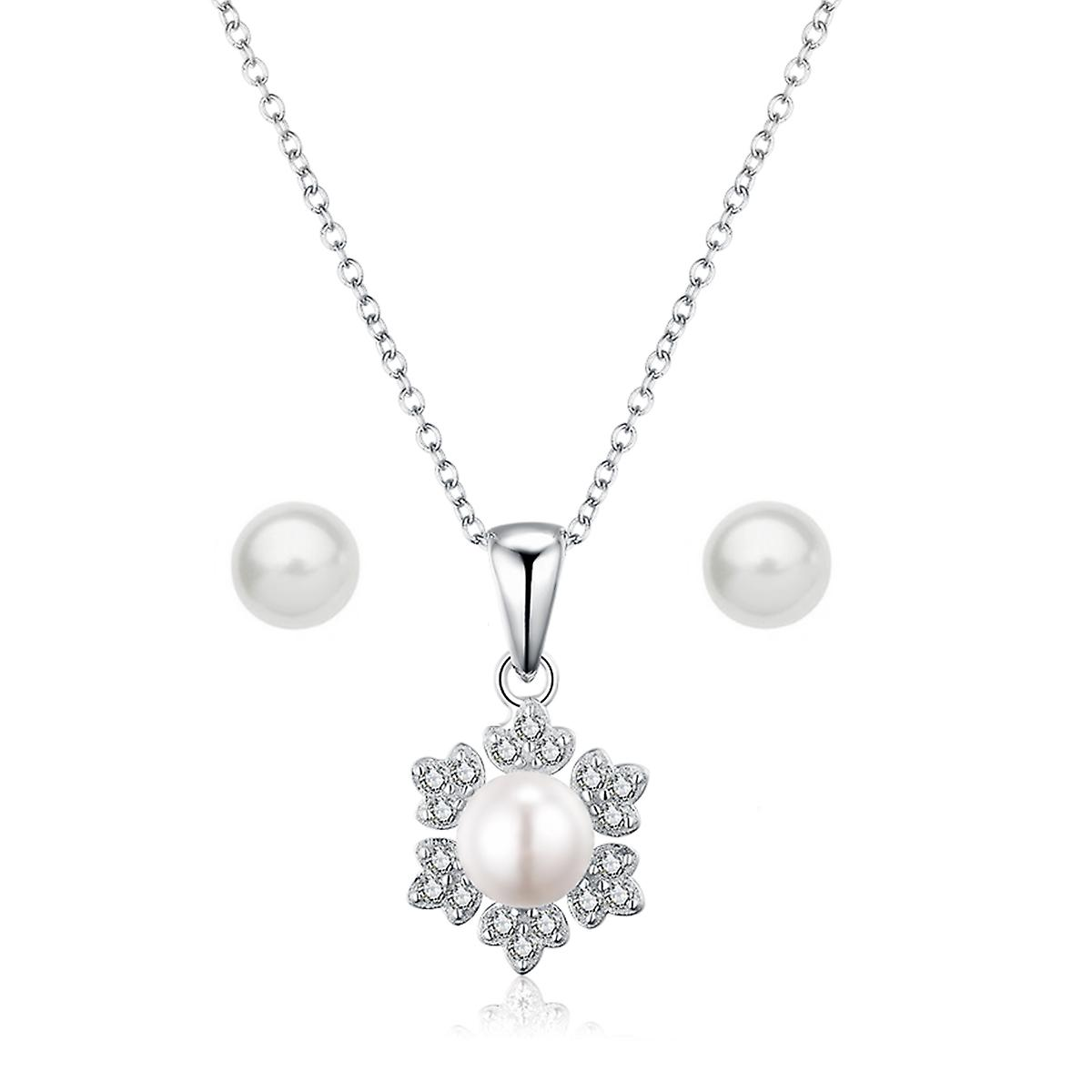 925 Sterling Silver Snowflake Pearl Necklace & Earring Set
