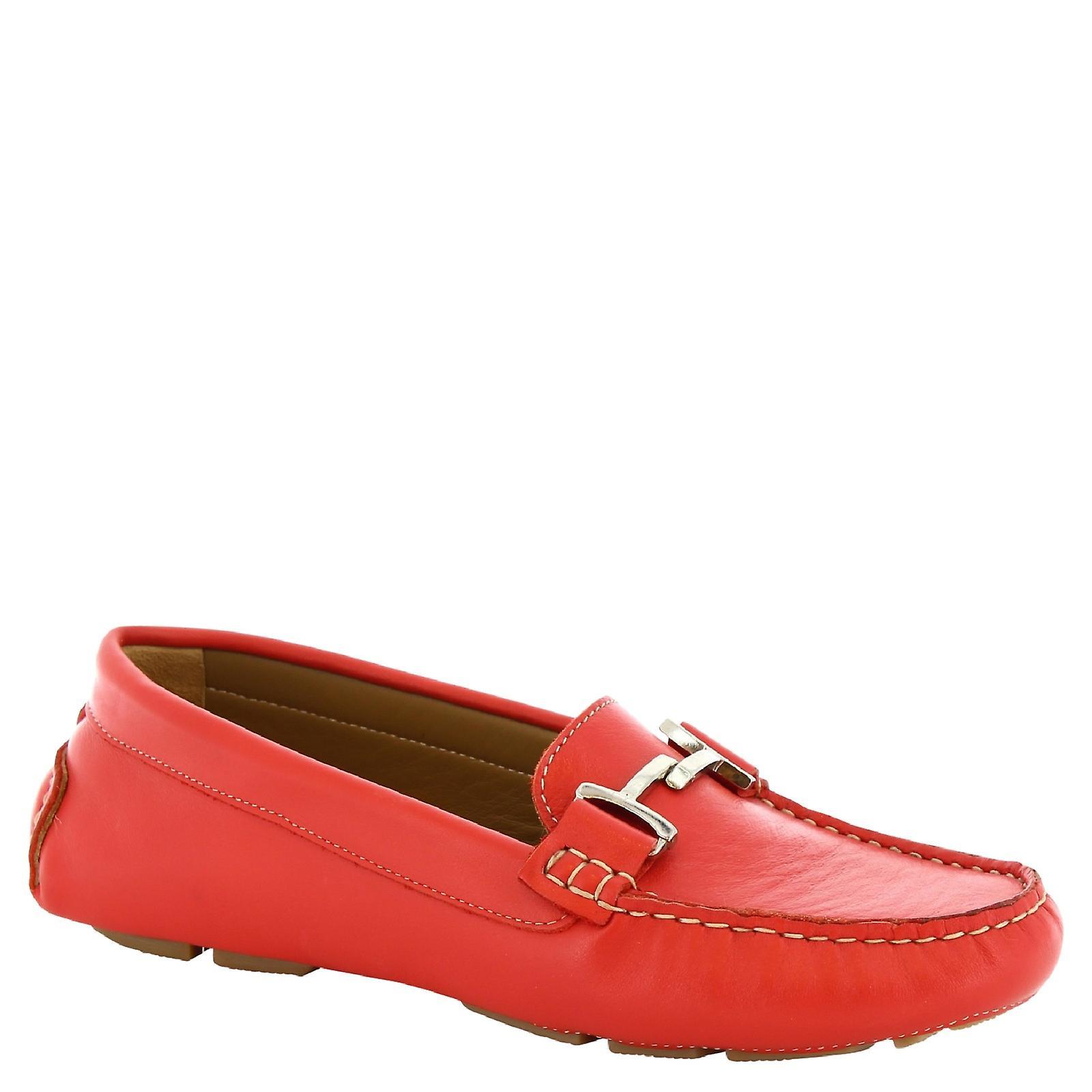 Leonardo Shoes Women's handmade bit loafers in red calf leather