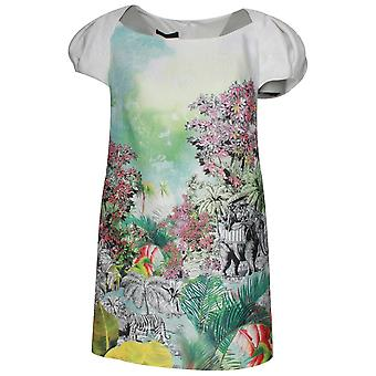 Arggido afgetopte Sleeve Safari Print korte jurk