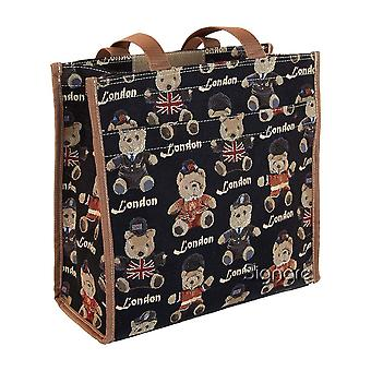 London bear reusable shopper bag by signare tapestry / shop-lnbe
