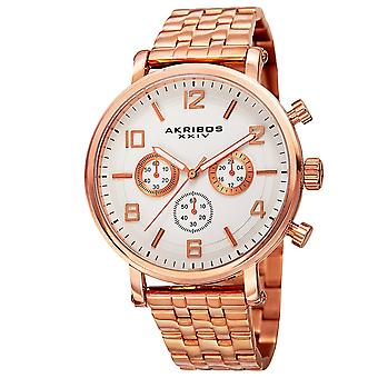 Akribos XXIV Men es AK800 Quartz Chronograph White Dial Stainless Steel BraceletWatch AK800RG